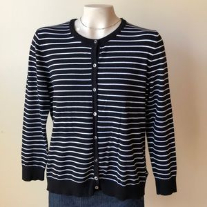 XL Jones New York stripe cardigan black/white